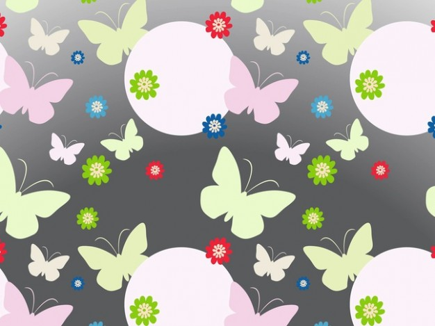 butterfly bubbles flowers backdrop Spring background vector pattern