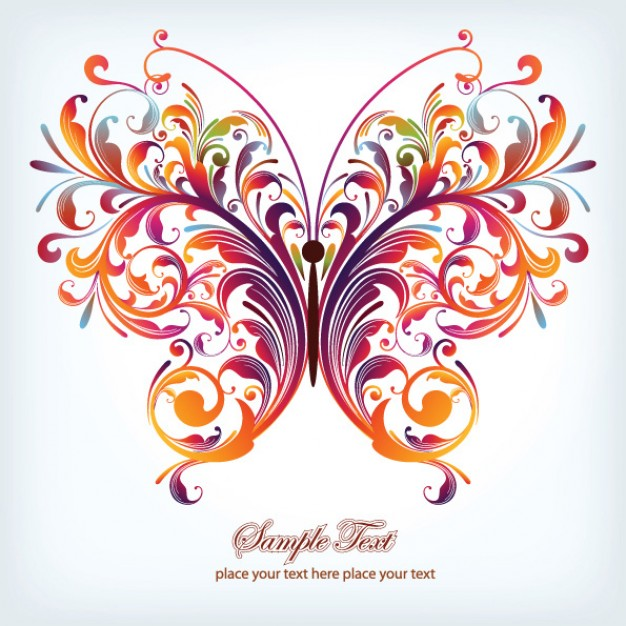 Butterfly pattern vector material in colorful swirls