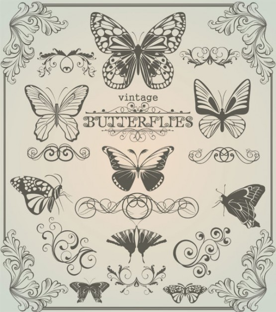 Butterfly patterns  vector in vintage style