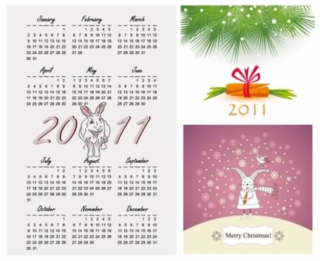 Calendar Vector Illustrations for Year of the Rabbit 2011
