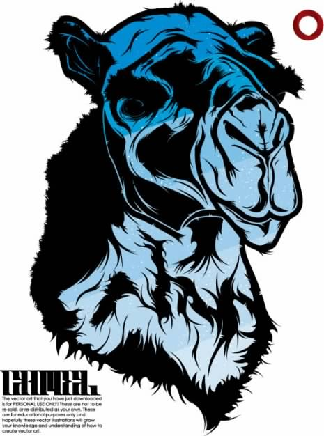 Camel Vector material in Blue and black