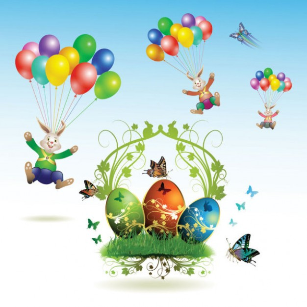 cards with Easter eggs and decorative balloons butterfly Vector