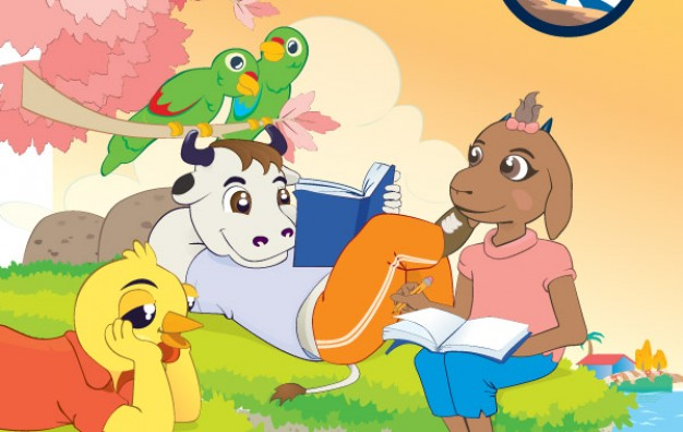 cartoon Animals Reading Books with cow sheep bird duck