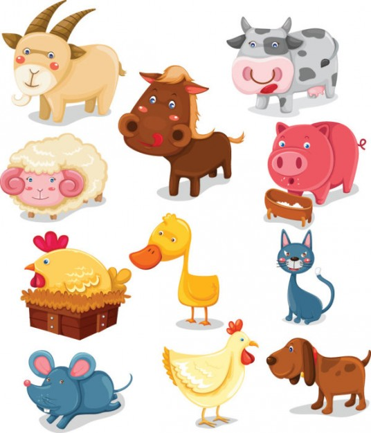 Cartoon animals vector material like cow sheep mouse cat dog goat