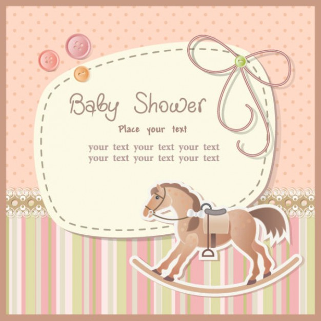 cartoon card vector with Trojan wood horse for baby shower card