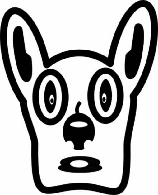 cartoon dog face front view clip art in simple line