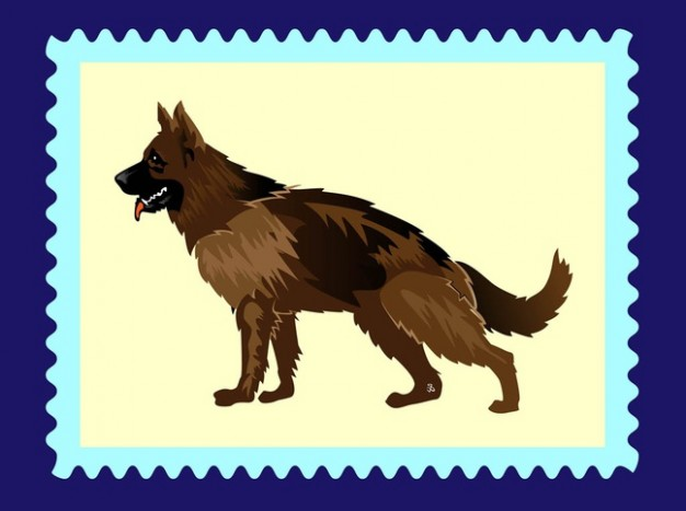 Cartoon dog side view german shepherd with yellow stamp background