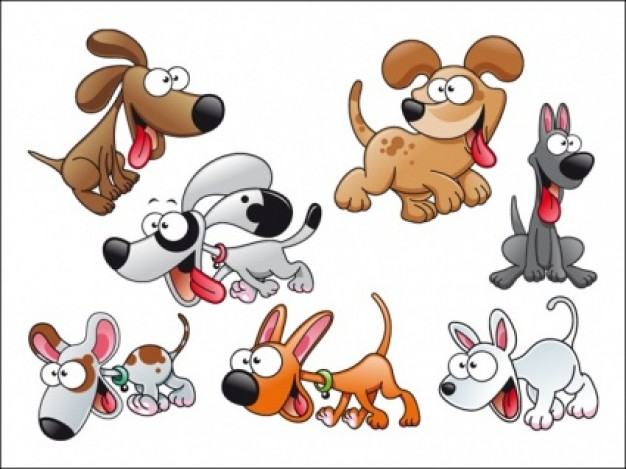 cartoon Dogs with different cute expression