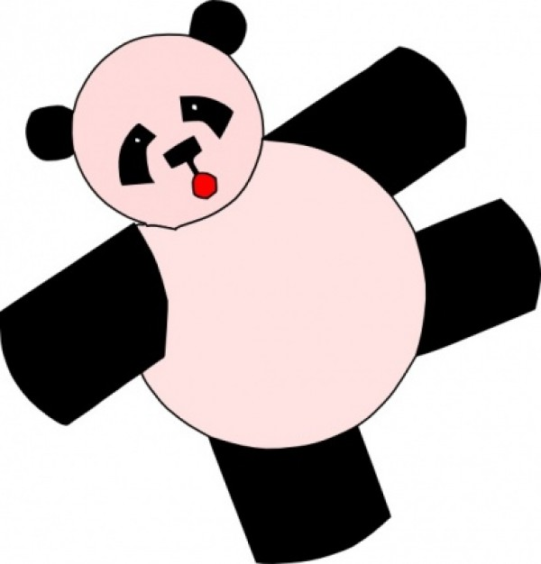 cartoon panda bear with pink body in top view clip art