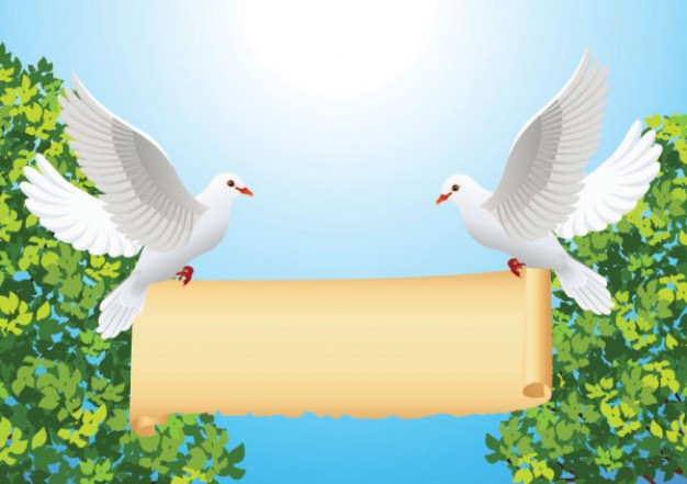 Cartoon peace dove pair and roll with tree and water sun background