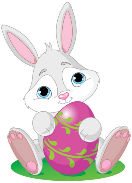 Cartoon rabbit and pink egg aroundded by tree swirl