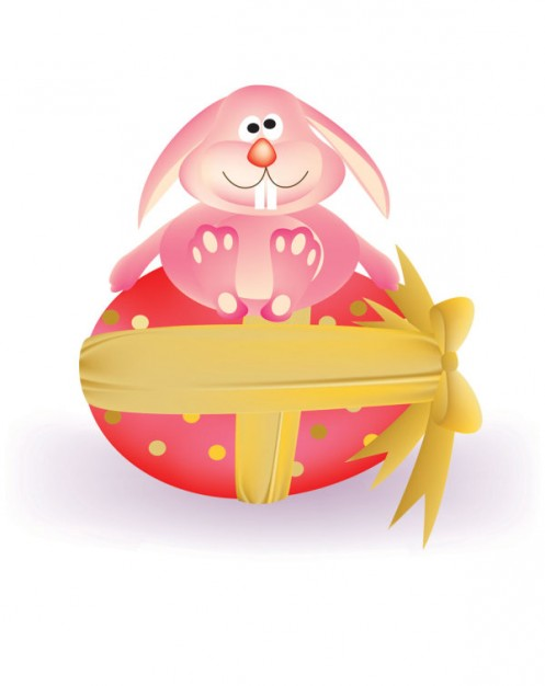 Cartoon rabbit with egg arounded of ribbon
