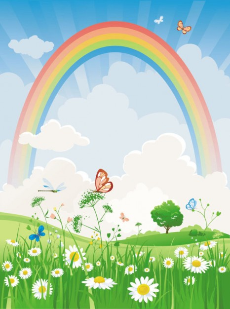 Cartoon Rainbow landscape with flowers grassland