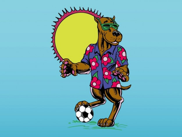 Cartoon soccer dog with T-shirt and sun at back