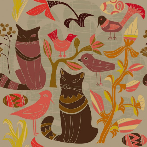 Cartoon style decorative birds and elegant cats and flowers