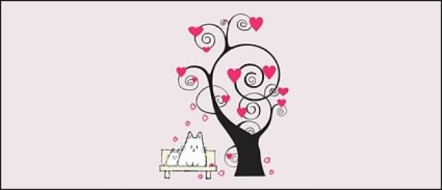 cartoon trees elements with Heart-shaped over pink background