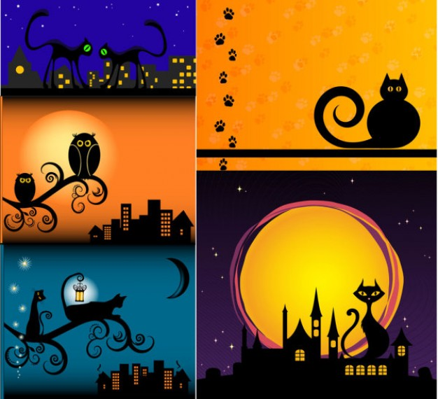 Cat Silhouette Vector for halloween scene