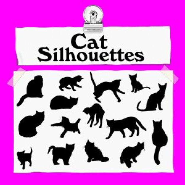 Cat Silhouettes with different pose