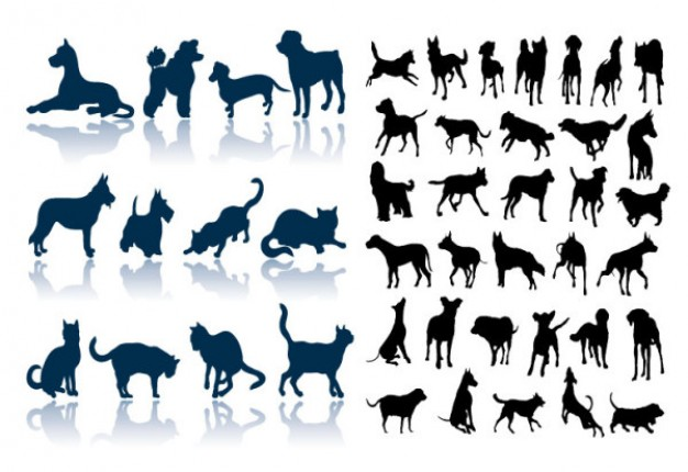 cats and dogs silhouette vector material in black and blue