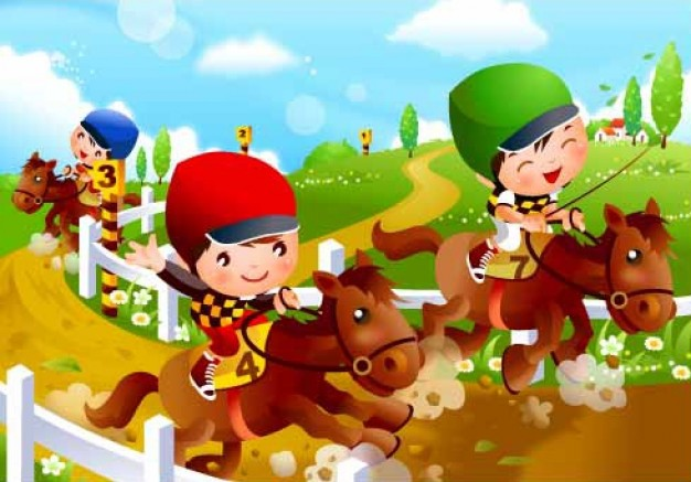 Children's Horse Racing motion at mud road vector material