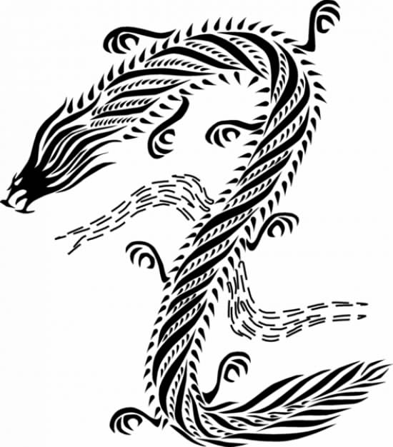 chinese Dragon style in black white swirl line
