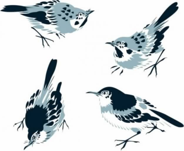 chinese painting sparrow birds free vector misc