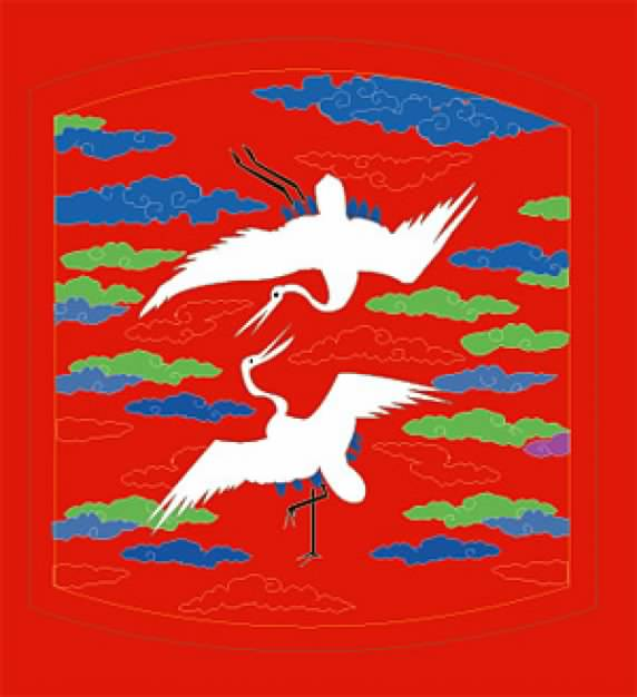 Classical Chinese Auspicious Crane Figure flying over cloud material