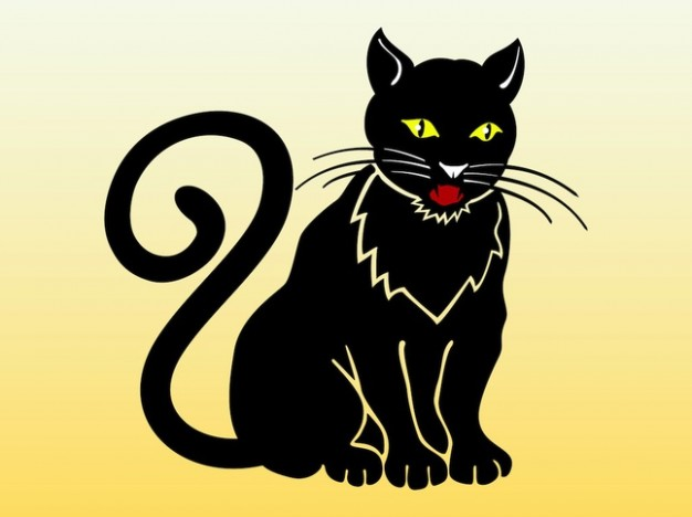 Clean black cat front view with earth yellow background domesticated animal