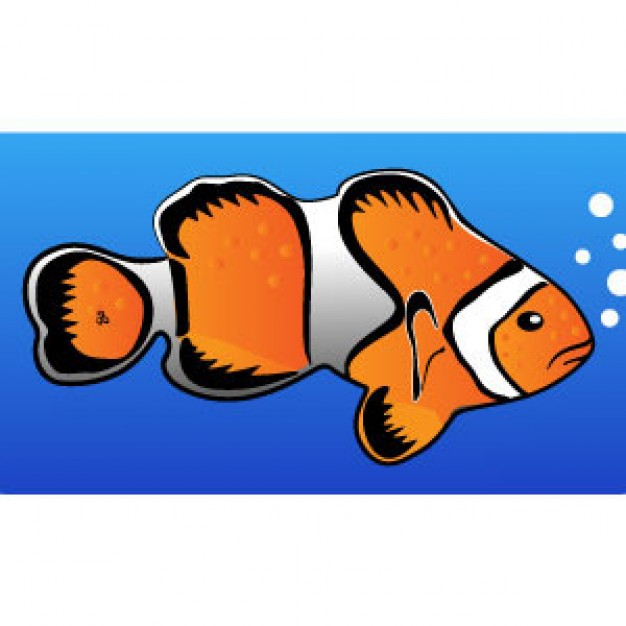 Clownfish Clip Art making bubbles in  water