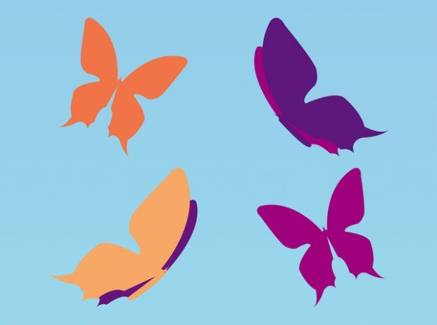 colorful butterflies flying over blue background