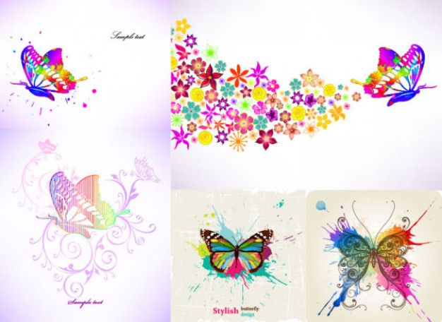 Colorful Butterfly Theme Vector material with pink background