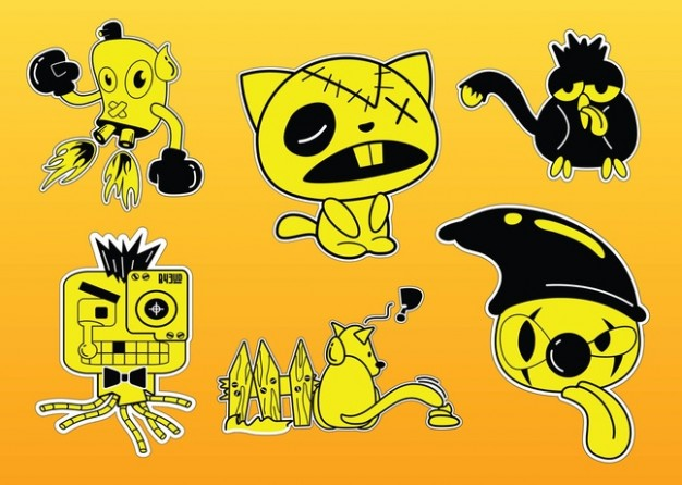 Comic Characters Vectors like cat dog owl for halloween