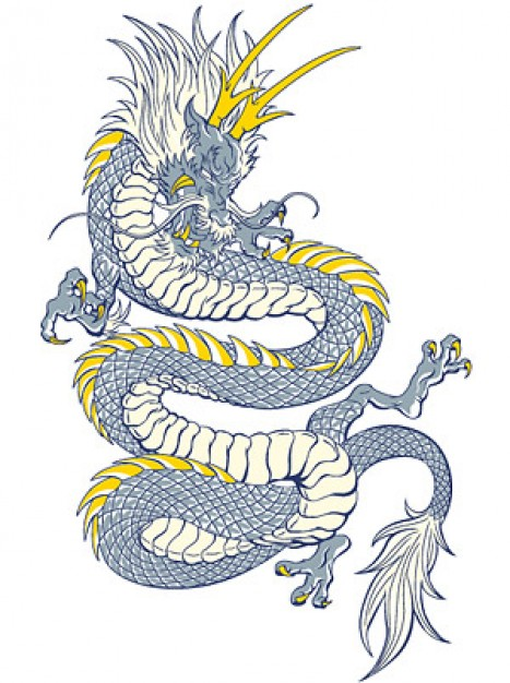 Cool Chinese dragon with yellow horn vector material in vertical pose