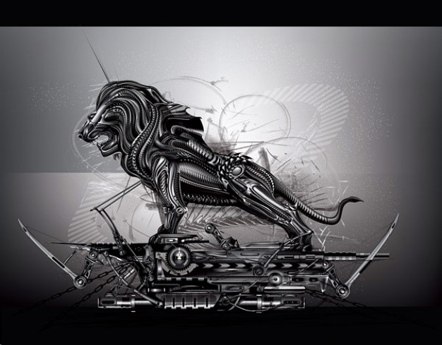 Cool metal lion side view in car vector material