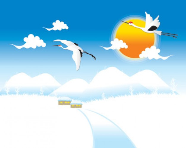cranes flying in snowy landscape with blue sky and cloudy yellow sun