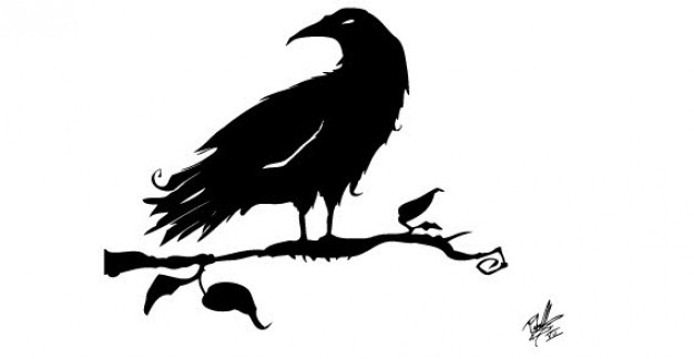 Crow Silhouettes standing on branch Free Vector