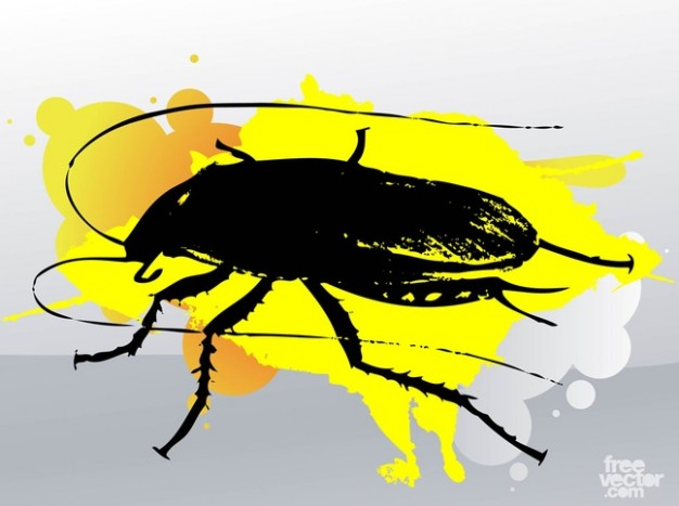 Cucaracha with yellow paint stain over grey background