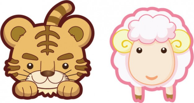 Cute brown tiger pink lamb sheep vector material