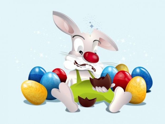 Cute bunny sitting in colorful eggs heep