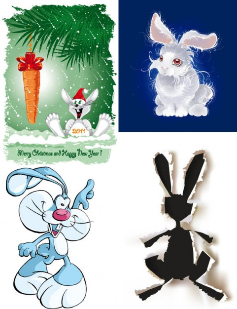 Cute cartoon easter rabbit image with carrot