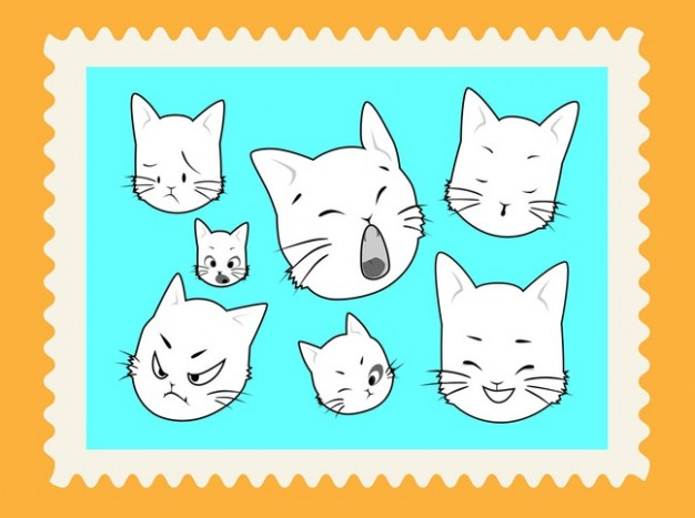 Cute cartoons cat face vector stamp