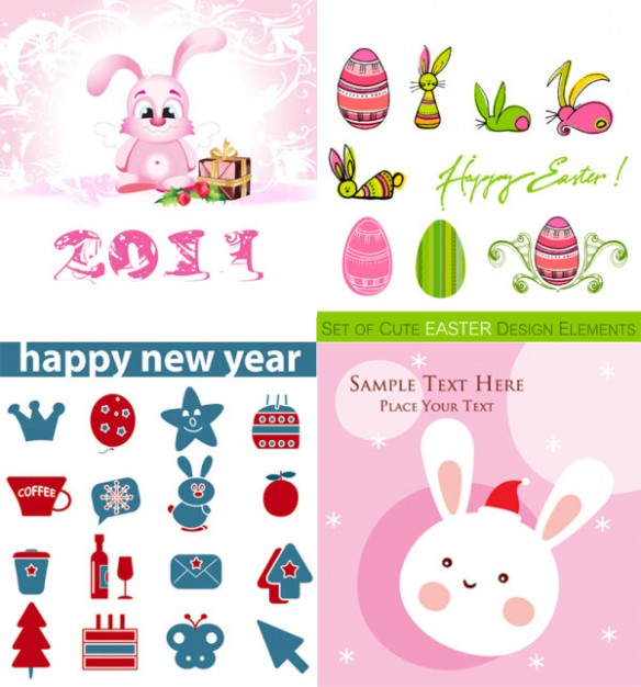 cute easter Cartoon elements like rabbit and icons