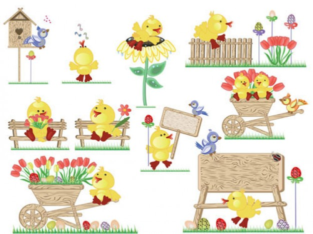 Cute Easter egg chicks jumping on bail vector material