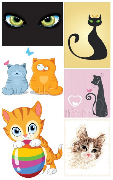 cute elegant Cat theme vector material in different style