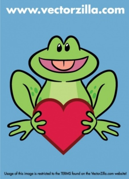 cute frog front view holding a heart over blue background