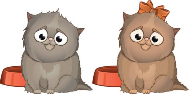 Cute gray cat pair and one with ribbon cartoon image