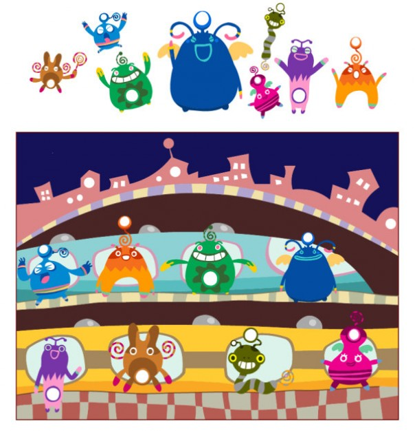 Cute monsters standing castle vector material
