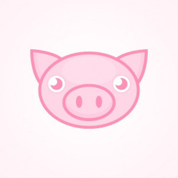 Cute Pink Pig face front view over pink background