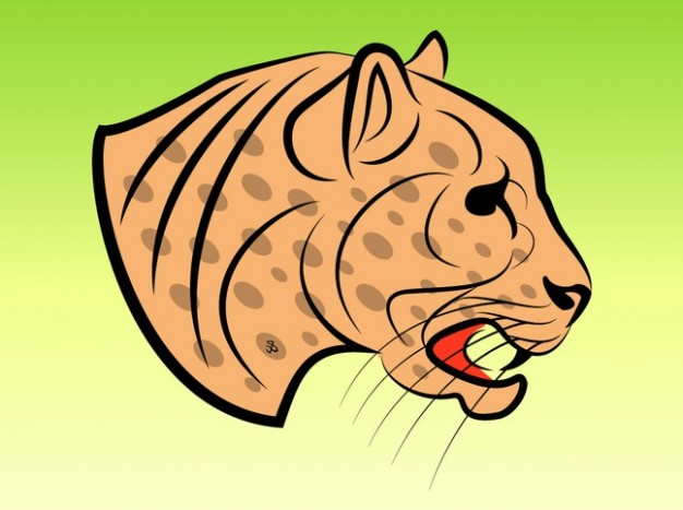 Dangerous Jaguar side view vector clip art with green yellow background