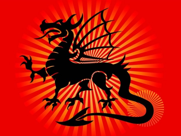 dark Cool dragon tattoo vector with radiant background